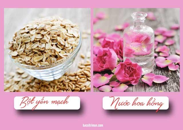 trị mụn đầu đen bằng bột yến mạch và nước hoa hồng