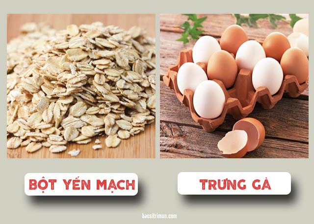 Cách trị mụn trứng cá viêm bằng yến mạch và trứng gà
