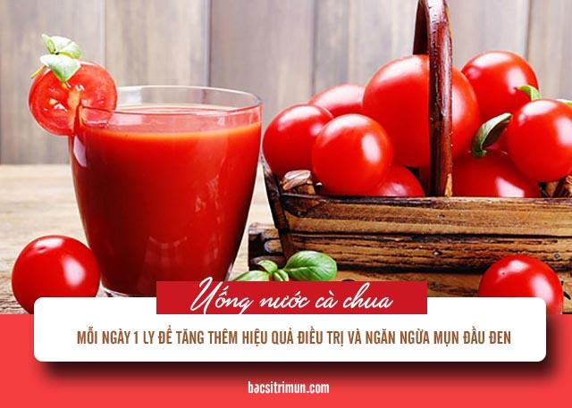 trị mụn đầu đen bằng nước cà chua