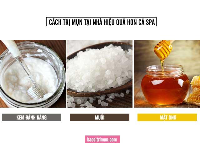 cách trị mụn bằng kem đánh răng và muối, mật ong