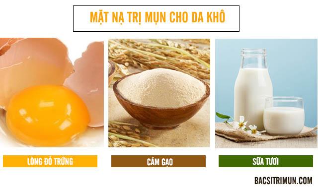 Mặt nạ trị da khô và mụn từ trứng, cám gạo và sữa tươi