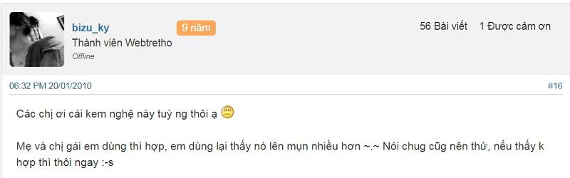 Review kem nghệ Thái Dương trị mụn